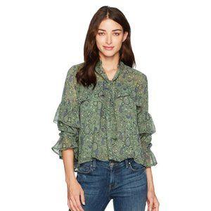 Lucky Brand Womens Blouse Sz Large Flutter Sleeve